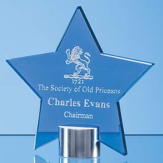 14cm Cobalt Blue Glass Star Mounted on a Brushed Aluminium Base
