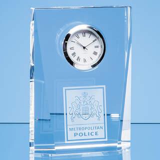 11.5cm Optical Crystal Bevelled Rectangle Clock