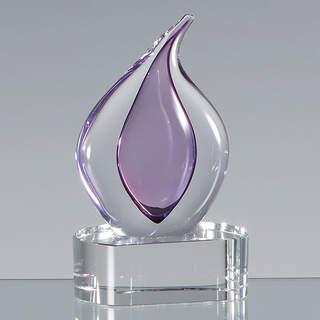 13cm Handmade Glass Heather Teardrop Award