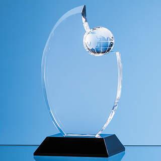 17.5cm Optical Crystal Globe Award Mounted on an Onyx Black Base