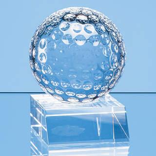 6cm Optical Crystal Golf Ball Mounted on a Clear Crystal Base