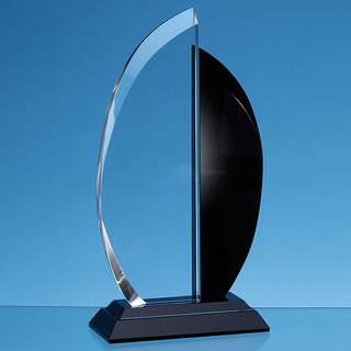 25.5cm Clear & Onyx Black Optical Crystal Facet Curve Award