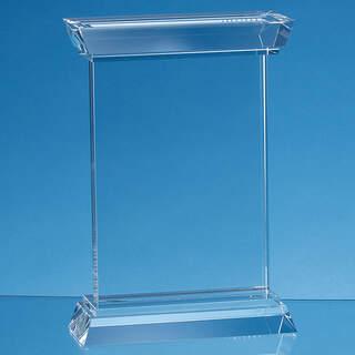 23cm Optical Crystal Portunus Mounted Rectangle Award