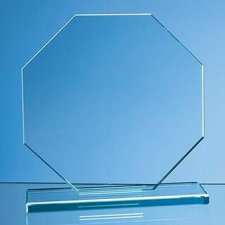 20cm x 20cm x 12mm Jade Glass Octagon Award