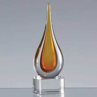 18cm Handmade Crystal Golden Teardrop Award