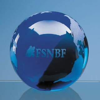7cm Sapphire Blue Optical Crystal Globe Paperweight