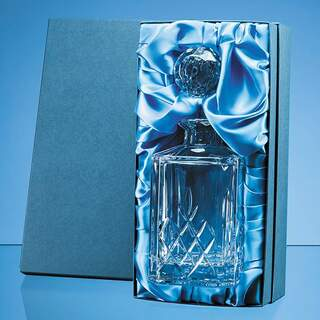 0.8ltr Blenheim Lead Crystal Full Cut Square Spirit Decanter Gift Set