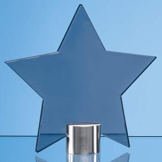 11.5cm Smoked Glass Star Mounted on a Brushed Aluminium Base