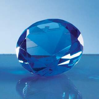 6cm Optical Crystal Blue Diamond Paperweight