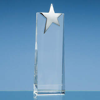 22.5cm Optical Crystal Rectangle with Silver Star
