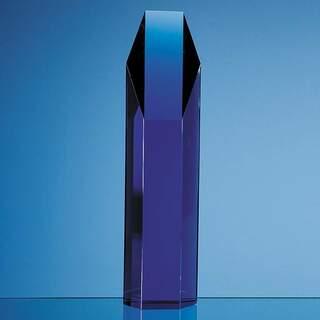 25.5cm Sapphire Blue Optical Crystal Hexagon Award