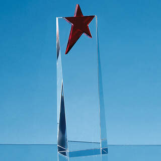 24cm Optical Crystal Rectangle with a Brilliant Red Star Award