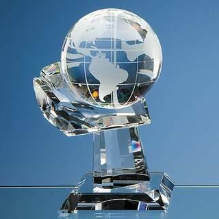 10cm Optical Crystal Globe on Mounted Hand Award