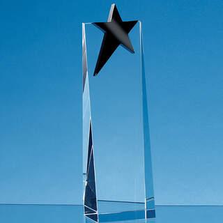 24cm Optical Crystal Rectangle with an Onyx Black Star Award