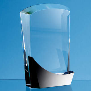 18cm Optical Crystal Arch Award with Onyx Black Swooping Base