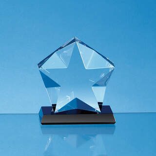 15cm x 5cm Optical Crystal Facetted Star Mounted on an Onyx Black Base