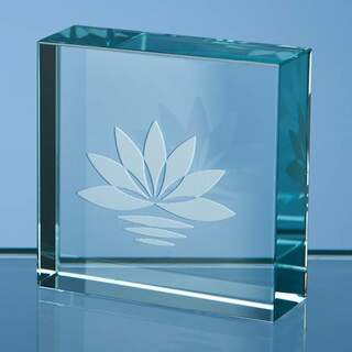 5cm Jade Glass Square Paperweight