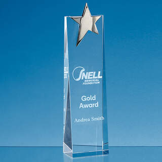27.5cm Optical Crystal Rectangle with a Gold Star