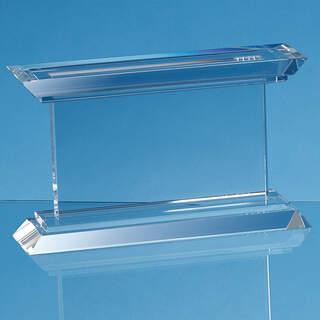 24cm Optical Crystal Janus Mounted Rectangle Award