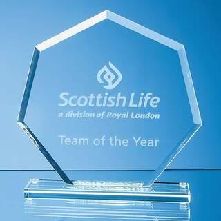16cm x 17cm x 1cm Jade Glass Bevelled Edge Heptagon Award