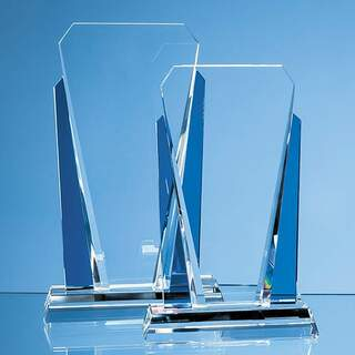 25cm Clear & Sapphire Blue Optical Crystal Sentinel Award